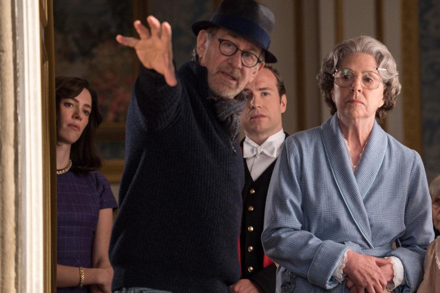 Steve Spielberg directing Penelope Wilton as Queen Elizabeth II in Disney's The BFG opening July 1, 2016 - rated PG (c) Disney ad