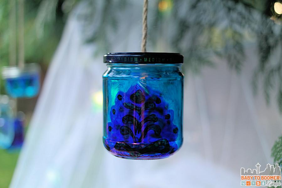 Msg 4 21+: Glamping Make Your Own Marker Lanterns #ShareWine #Colle ctiveBias #adBackyard Glamping - hanging the lanterns