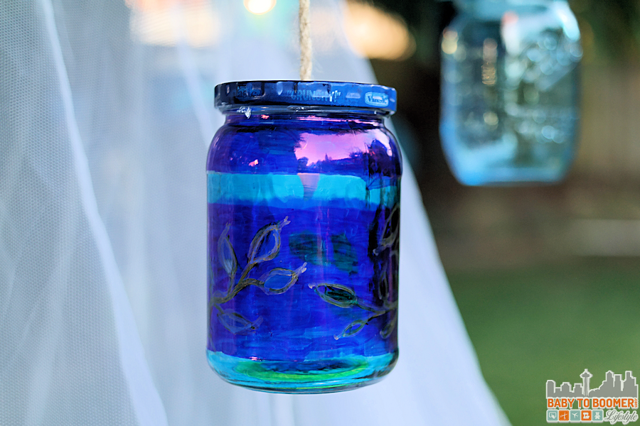 Msg 4 21+: Glamping Make Your Own Marker Lanterns #ShareWine #CollectiveBias #ad Glamping - hanging the lanterns