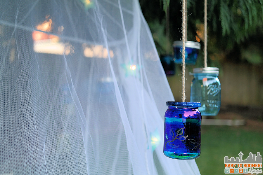 Msg 4 21+: Glamping Make Your Own Marker Lanterns #ShareWine #CollectiveBias #adHanging the lanterns - backyard glamping