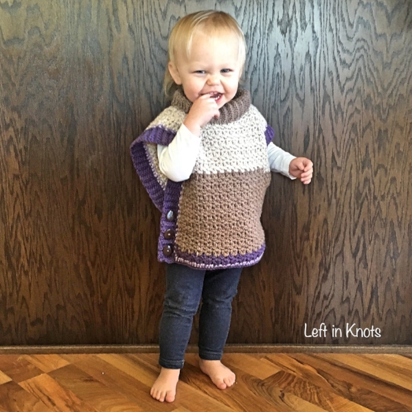 Amelia Poncho Sweater a free pattern made with Caron Cakes Lilac Frosting
