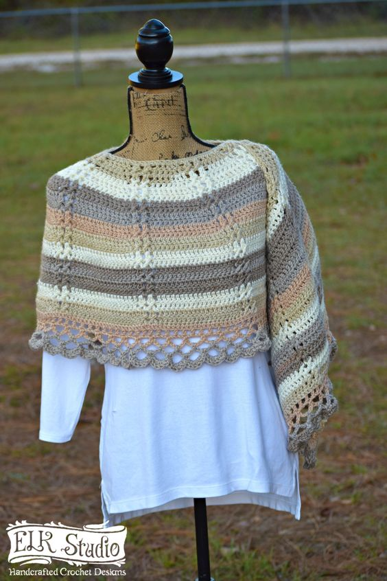 Free Crochet Shawl Pattern by ELK Studio - Caron Cakes Buttercream Yarn
