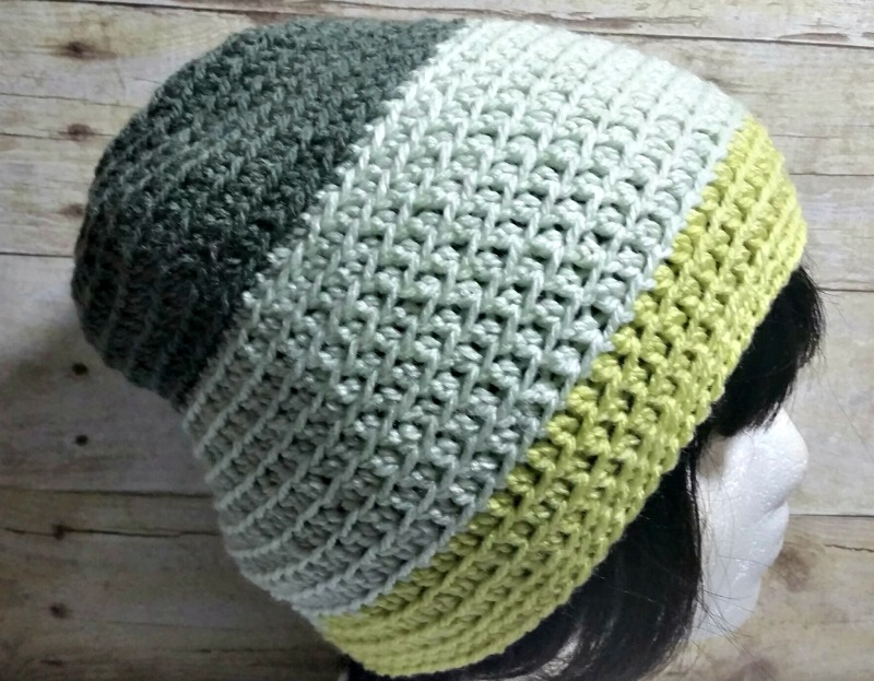 Free Adult Slouchy Beanie Hat Crochet Pattern - Caron Cakes Key Lime by Olive Brook