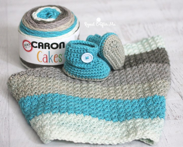Crochet Patterns Using Bernat Pop Yarn : Crochet Baby Blanket Booties Repeat Crafter Me Caron Cakes Cake Pop ...