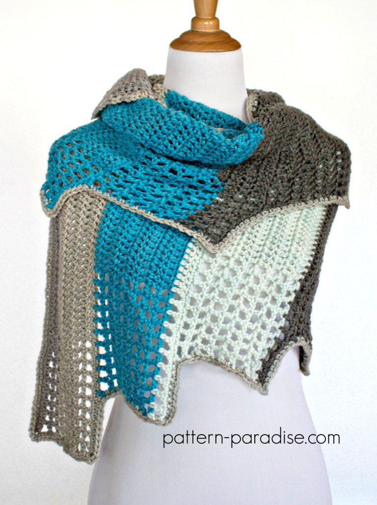 Free Adult Crochet Wrap Pattern by Pattern Paradise shown in Caron Cakes Cake Pop