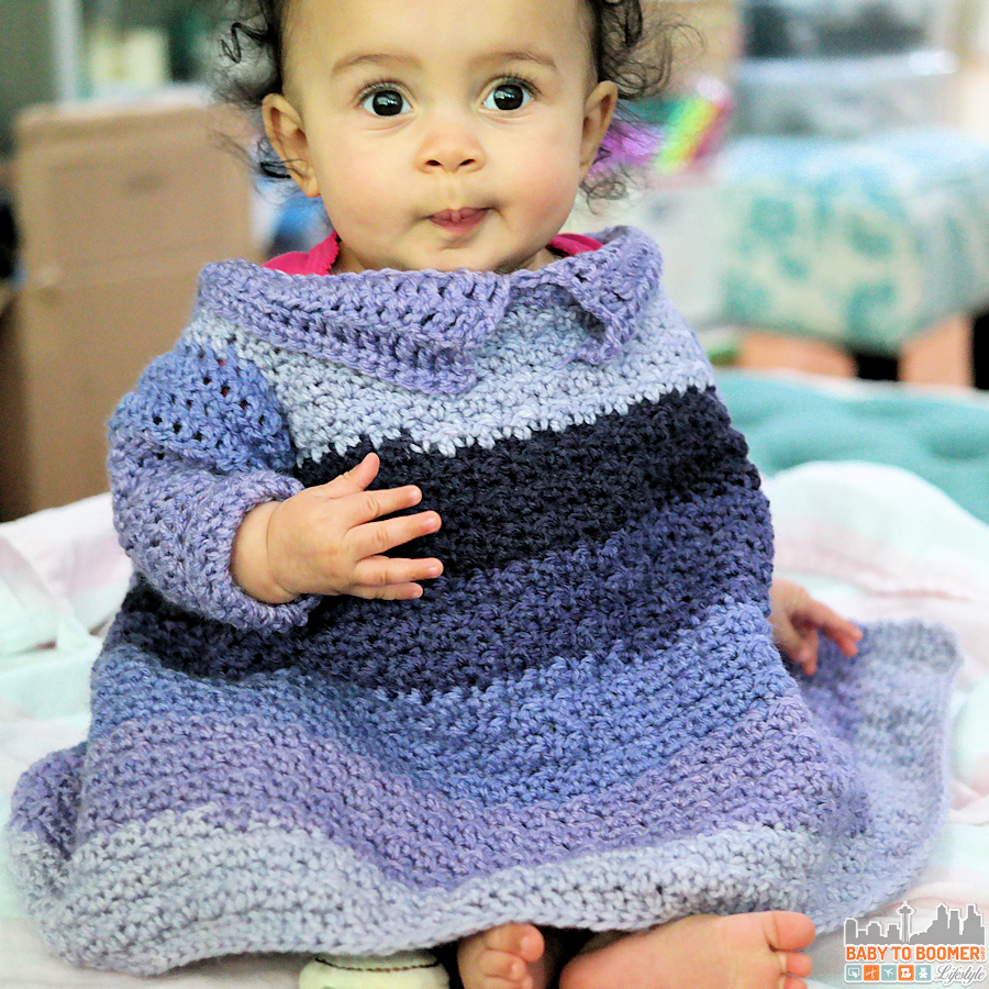 Free Crochet Pattern for baby & toddler - Car Seat Sweater Blanket made with Caron Cakes Brambleberry