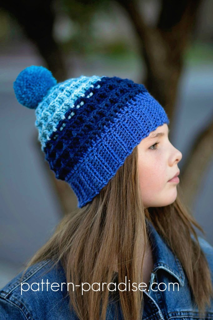 Free Crochet Pattern - Alpine Nights Beanie by Pattern Paradise made in Caron Cakes Blueberry Cheesecake Yarn