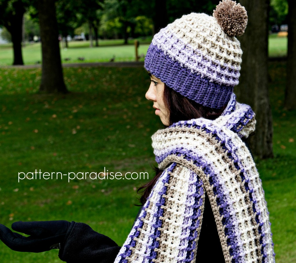 Free Crochet Pattern - Alpine Nights Beanie by Pattern Paradise made in Caron Cakes Lilac Frosting Yarn