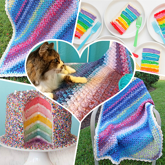 Free Crochet Pattern - Layer Cake Diagonal Granny Stripe Blanket by Kodykin\'s Crafts. She\'s used Caron Cakes Yarn in Bumbleberry, Gelato, Blueberry Cheesecake, Cherry Chip, Rainbow Sprinkles, and Buttercream!