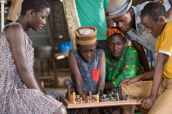 "Madina Nalwanga (left) as Phiona Mutesi in ""Queen of Katwe"""