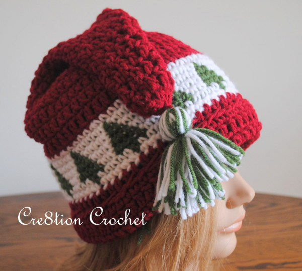 Adult Christmas Tree Cap - Free Crochet Hat Pattern by Crea8tion Crochet