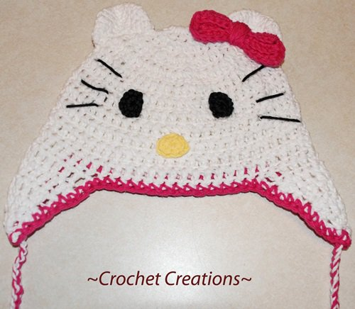 Free Crochet Pattern - Kids animal beanie cap - - Hello Kitty Hat