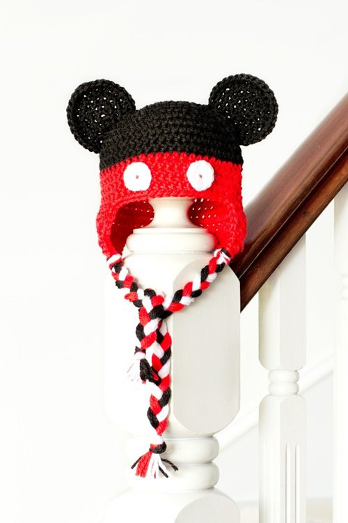 995f92f405a647 Free Crochet Pattern - Kids animal beanie cap - - Earflap Mickey Mouse Hat