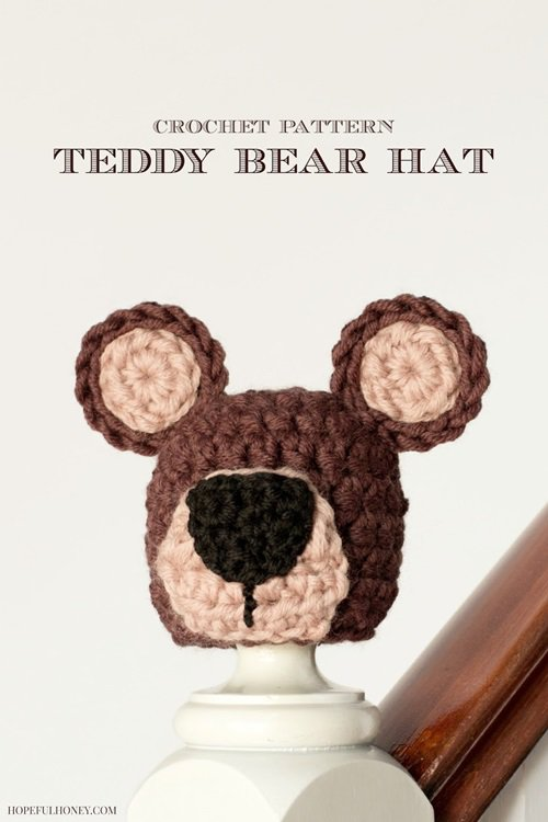 Free Crochet Pattern - Kids animal beanie cap - - Teddy Bear Hat