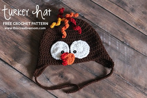Free Crochet Pattern - Kids animal beanie cap - - Turkey Hat