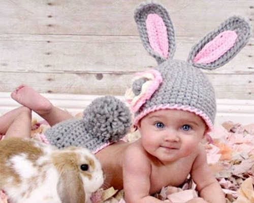 Free Crochet Pattern - Kids animal beanie cap - - Bunny Hat & Diaper Cover