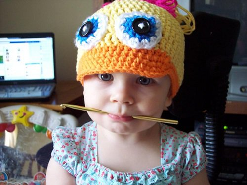 Free Crochet Pattern - Kids animal beanie cap - - Duck Hat