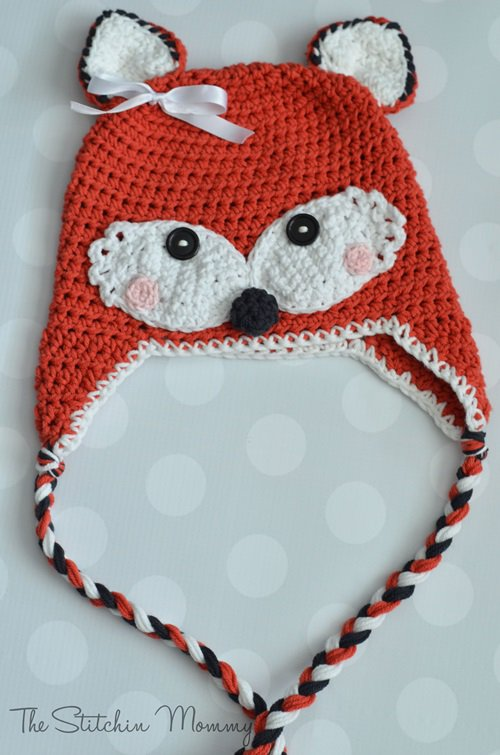 Free Crochet Pattern - Kids animal beanie cap - -Fox Hat