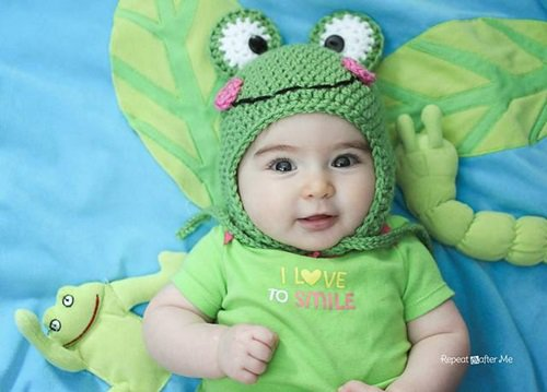Free Crochet Pattern - Kids animal beanie cap - -Frog Hat