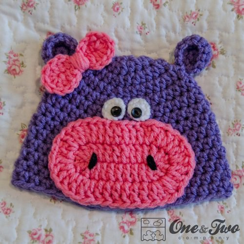 Free Crochet Pattern - Kids animal beanie cap - Hippo