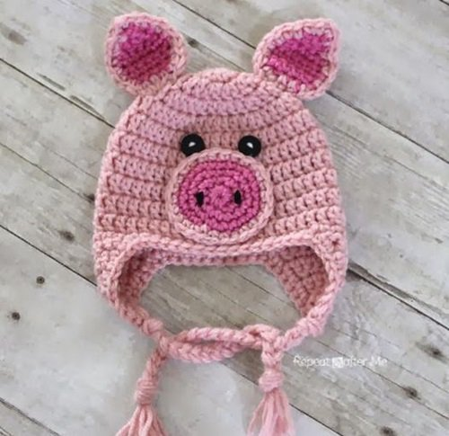 Free Crochet Pattern - Kids animal beanie cap - - Pig Hat