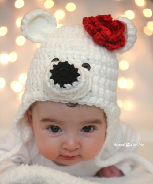 Free Crochet Pattern - Kids animal beanie cap -- Polar Bear Hat