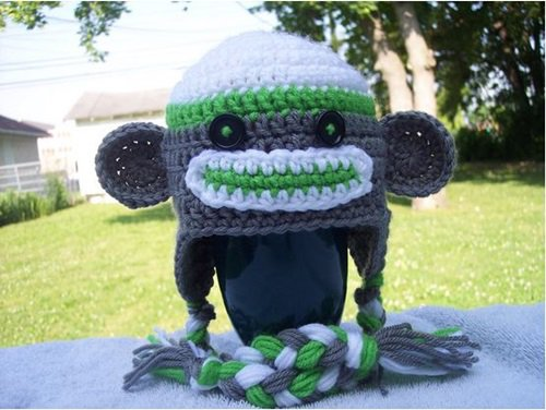 Free Crochet Pattern - Kids animal beanie cap - - Sock Monkey Hat