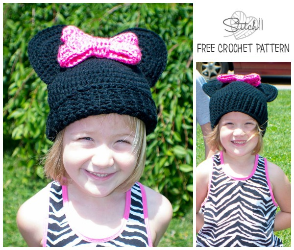 Child /Teen/Small Adult Size Mouse Hat with a Bow bu Stitch 11