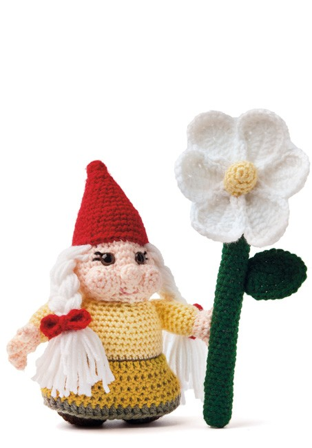 Enchanted Forest Creatures Crochet Pattern - Girl Gnome with Flower