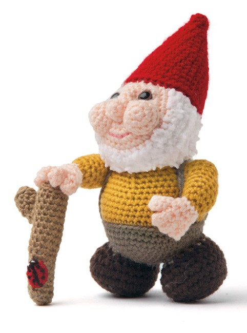 Enchanted Forest Creatures Crochet Pattern - Boy Gnome with walking stick & ladybug