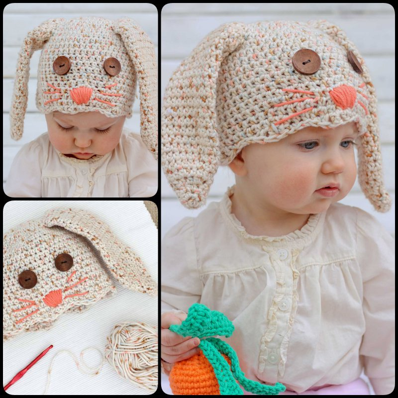 Free Crochet Pattern - Kids animal beanie cap - - Baby Bunny Hat