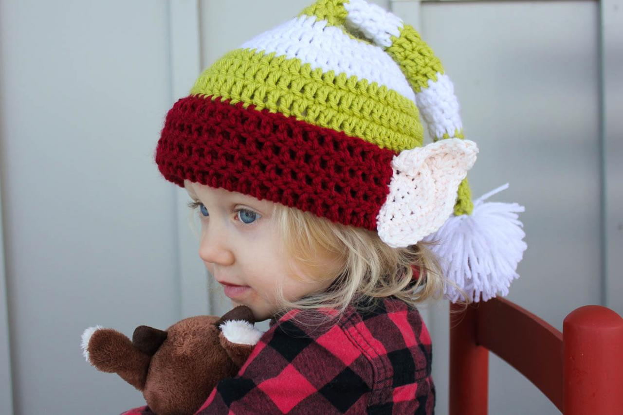 Free Crochet Elf Hat Pattern with Ears! From the Make and Do Crew - Free Crochet Patterns - Christmas-Themed Hats for Adults and Kids