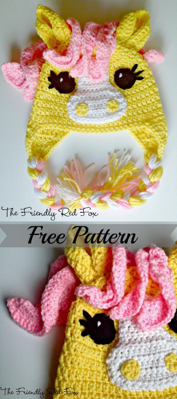 Free Crochet Pattern - Kids animal beanie cap - - My Little Pony Hat
