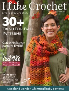 I Like Crochet Digital Magazine - Issue 2016 October (Fall) 30+ fresh crochet patterns for fall, cutest crochet Halloween patterns ever, fantastic fall scarves (seasonal symphony shawl) and woodland wonder - whimsical crochet patterns for baby.
