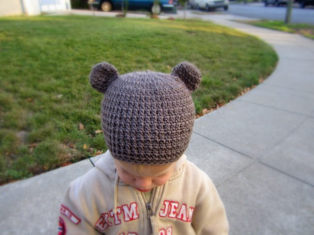 Little Bear Toddler Beanie, Free Crochet Hat Pattern by Lacy Crochet