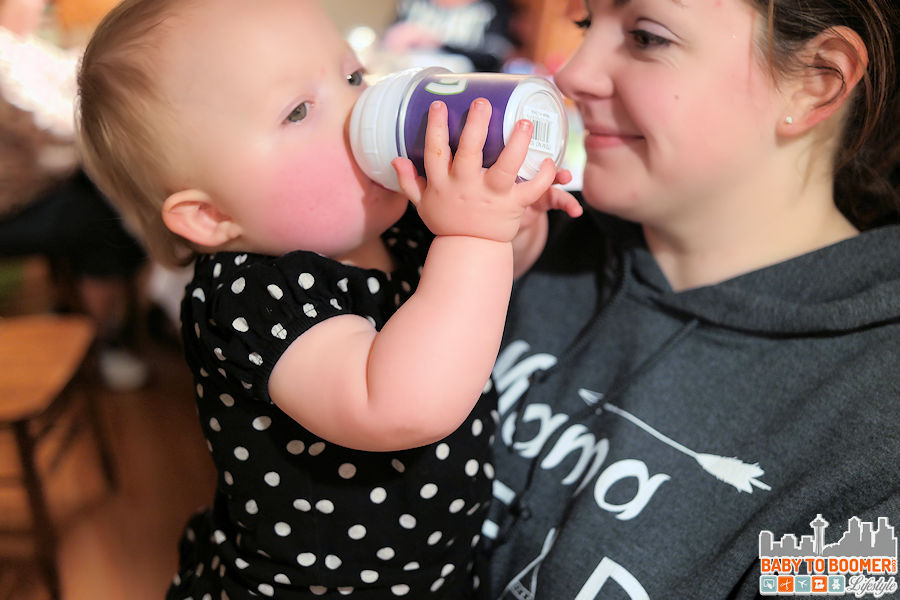 June is loving her new sippy cup!