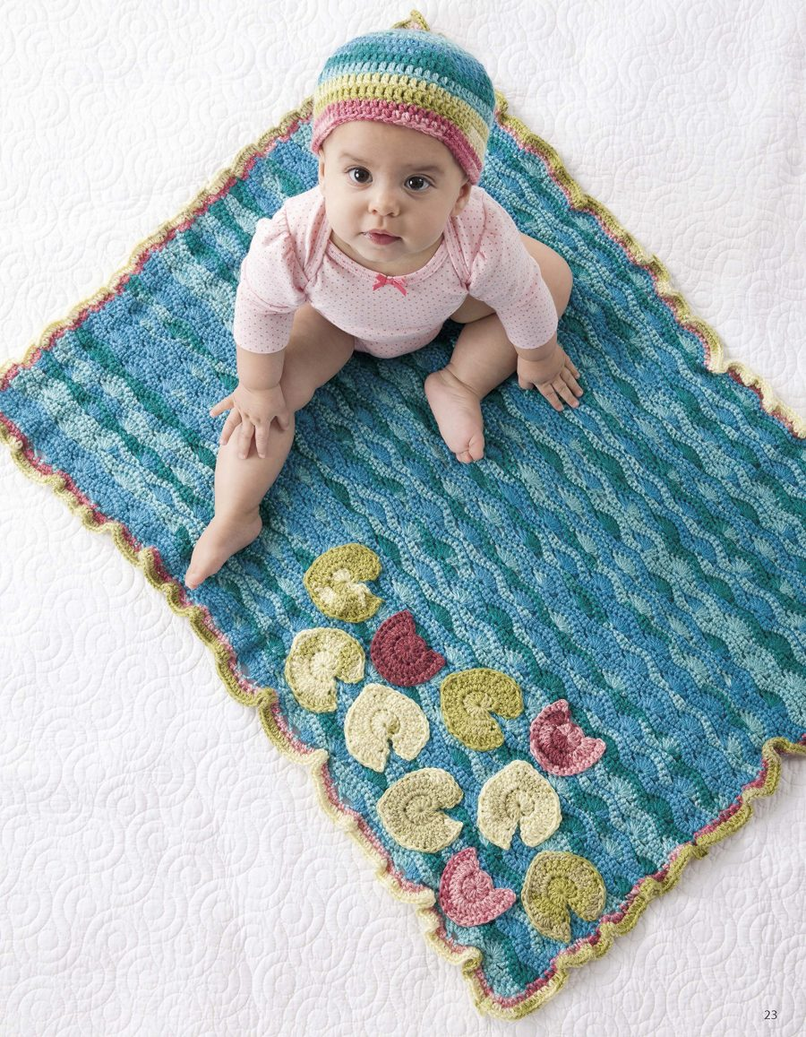 Nature's Gifts for Baby | Crochet | Leisure Arts (6718) - Waterlilies & Pond - matching baby blanket and hat