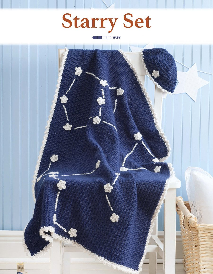 Nature's Gifts for Baby | Crochet Pattern - Matching baby blanket and hat - starry sky set