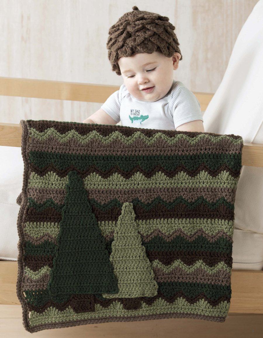 Nature's Gifts for Baby | Crochet Pattern - Matching baby blanket and hat - forest (trees)