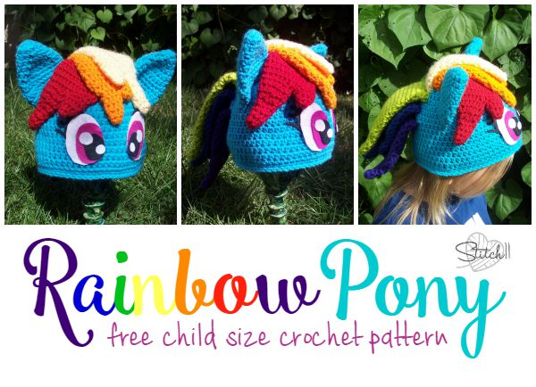 Rainbow Pony Child-sized Hat - Free Crochet Pattern from Stitch 11