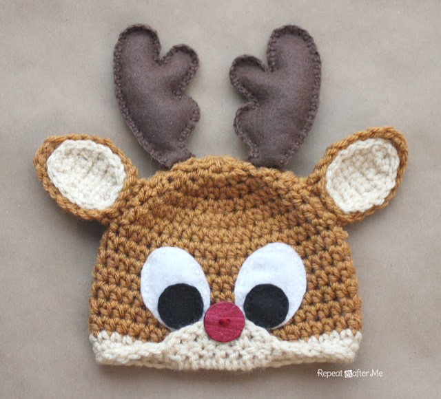 Rudolph%20the%20Rednosed%20Reindeer%20Free%20Christmas%20Crochet%20Hat%20Pattern%20for%20Kids%20by%20RepeatCrafterMe