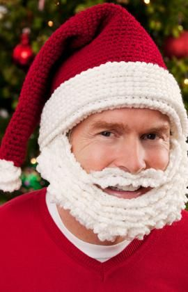 Santa Hat and Beard Free Crochet Pattern for Kids, Tweens, Teens, and Adults by Red Heart