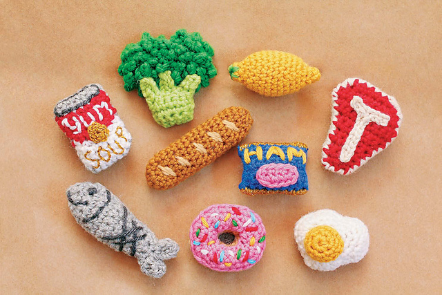 Twinkie Chan's Crocheted Abode a la Mode: 20 Yummy Crochet Projects for Your Home - miniature food magnets - Spam, Cambell's Soup, Baguette, Broccoli, Lemon, T-bone Steak, Donut, fish, fried egg.