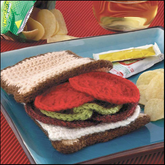 Yummi Gurumi Over 60 Gourmet Crochet Treats to Make - Pattern salami and Swiss build-your-own sandwich