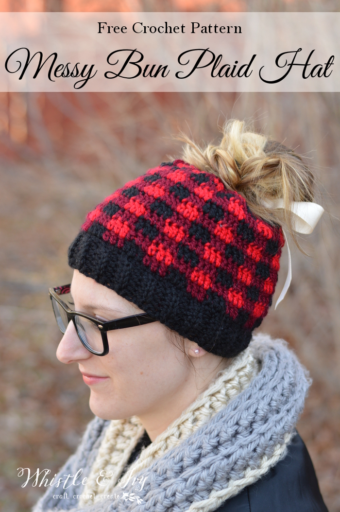 Free Pattern - Crochet Messy Bun Plaid Hat by Whistle & Ivy