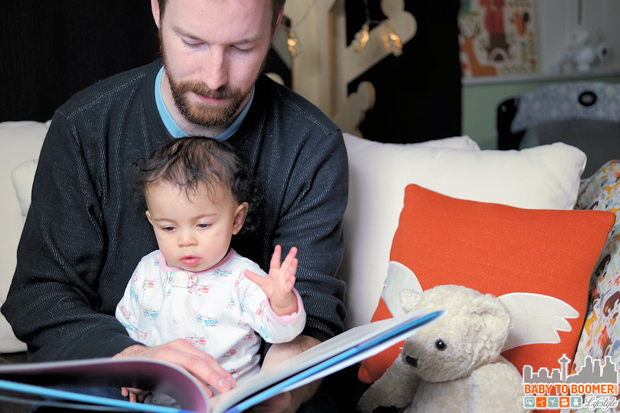 Ame - 8 months old reading with Daddy - Give Please A Chance: Teaching Kids About Manners in an Engaging Way #GivePleaseaChance #ad