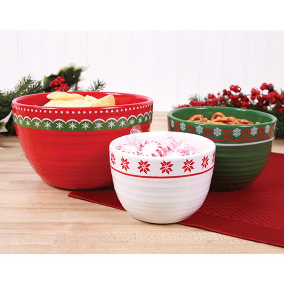 Happy Holidays Ceramic Nesting Bowls - Shop the American Diabetes Association Gift of Hope Catalog #ad
