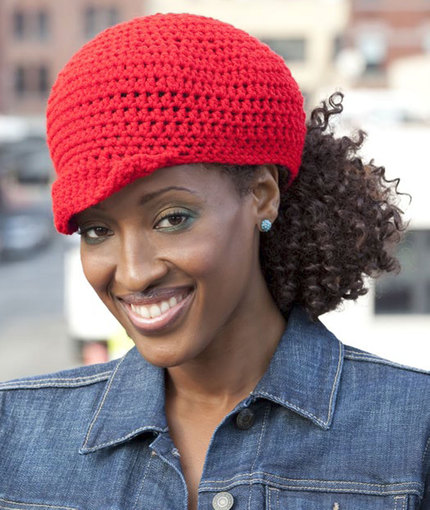 Crochet Ponytail : ... Ponytail Hat Pattern by Red Heart features a brim and a lower ponytail