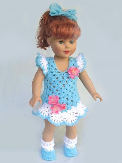 "Granny's Sunday Best Dress Crochet Patterns For 18"" Dolls - aff"