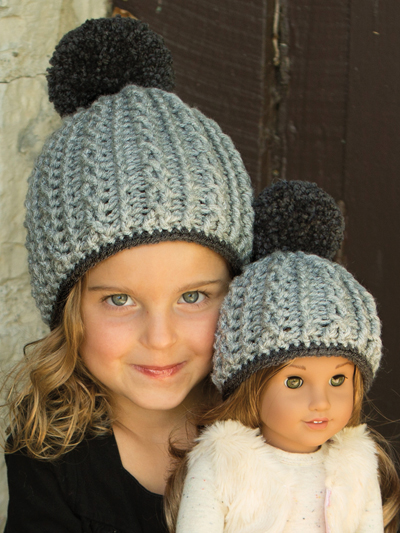 """Cabled Beanie Crochet Pattern Hat - 18"""" doll (0 to 3 months, 6 to 12 months, 2 to 4 years, 5 to 12 years, teen, adult) aff"""